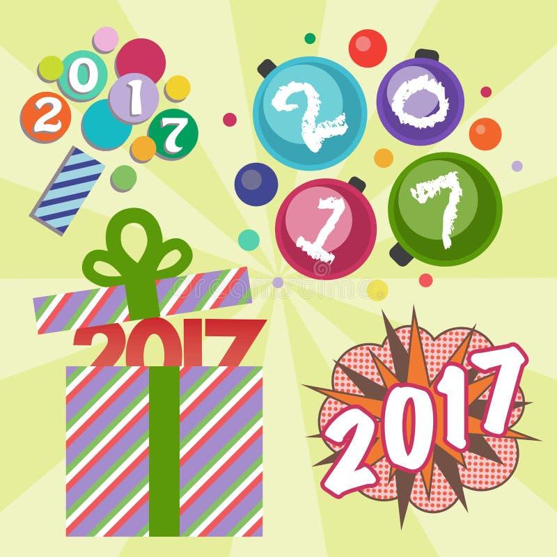 Иллюстрация даты партии приветствию торжества счастливого вектора дизайна текста Нового Года 2017 творческая графическая иллюстрация вектора