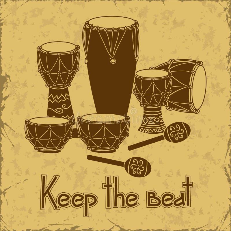Иллюстрация африканского комплекта барабанчика выстукивания иллюстрация штока