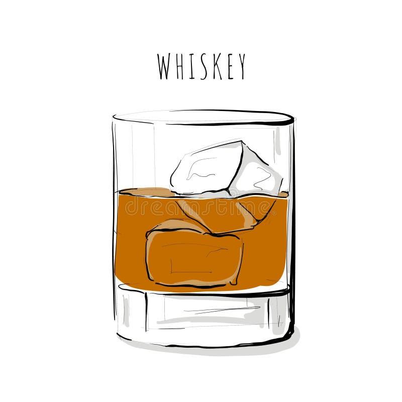 Иллюстрация алкогольного напитка виски иллюстрация штока