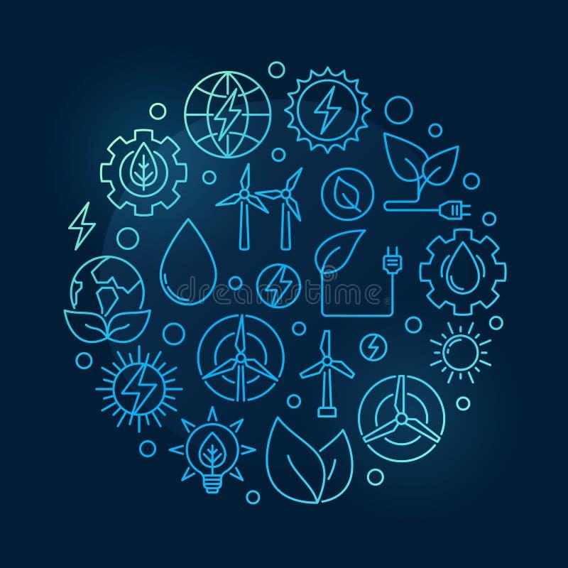 Иллюстрация альтернативной энергии круговая голубая иллюстрация вектора
