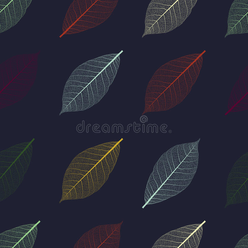 Иллюстрация безшовной картины с скелетом листьев стоковое фото rf