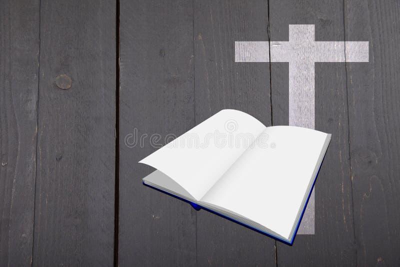 Иллюстрация белых библии и креста на черной деревянной предпосылке стоковые изображения