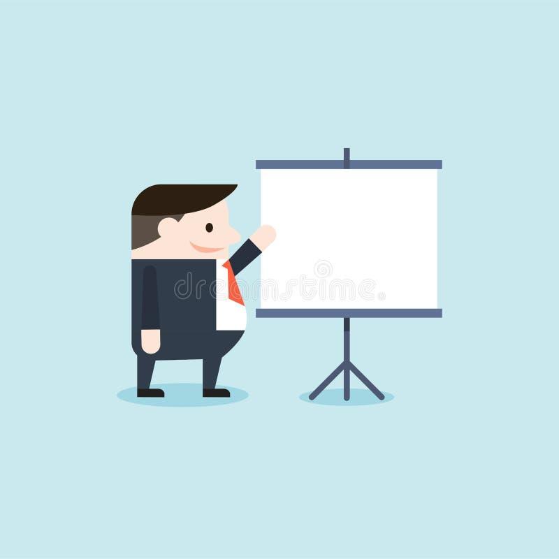 Иллюстрация бизнесмена присутствующая на whiteboard стоковые изображения