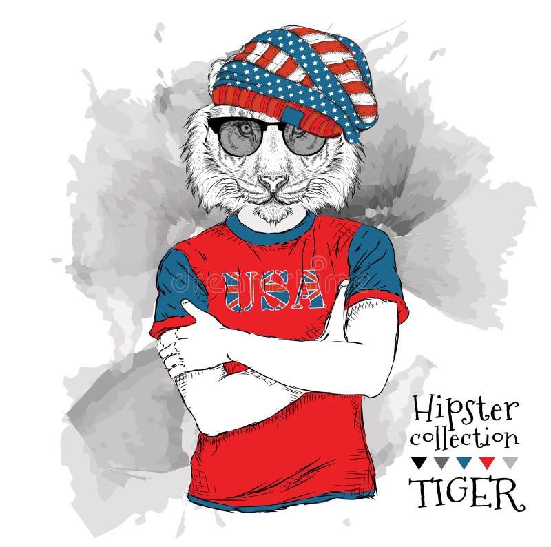 Иллюстрация битника тигра одевала в стеклах и в футболке с печатью флага США также вектор иллюстрации притяжки corel бесплатная иллюстрация