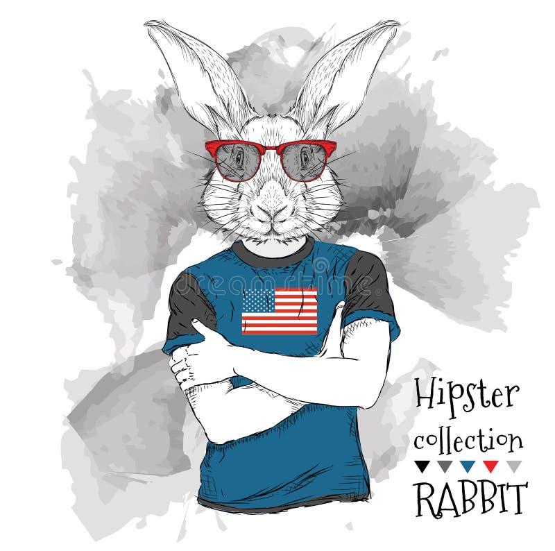 Иллюстрация битника тигра одевала в стеклах и в футболке с печатью флага США также вектор иллюстрации притяжки corel иллюстрация штока