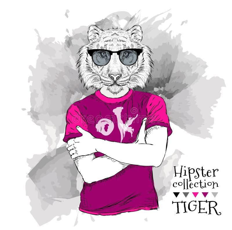 Иллюстрация битника тигра одевала в футболке и в стеклах также вектор иллюстрации притяжки corel бесплатная иллюстрация
