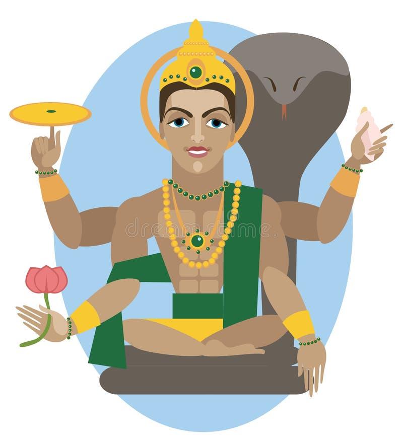 Иллюстрация божества Vishnu иллюстрация вектора