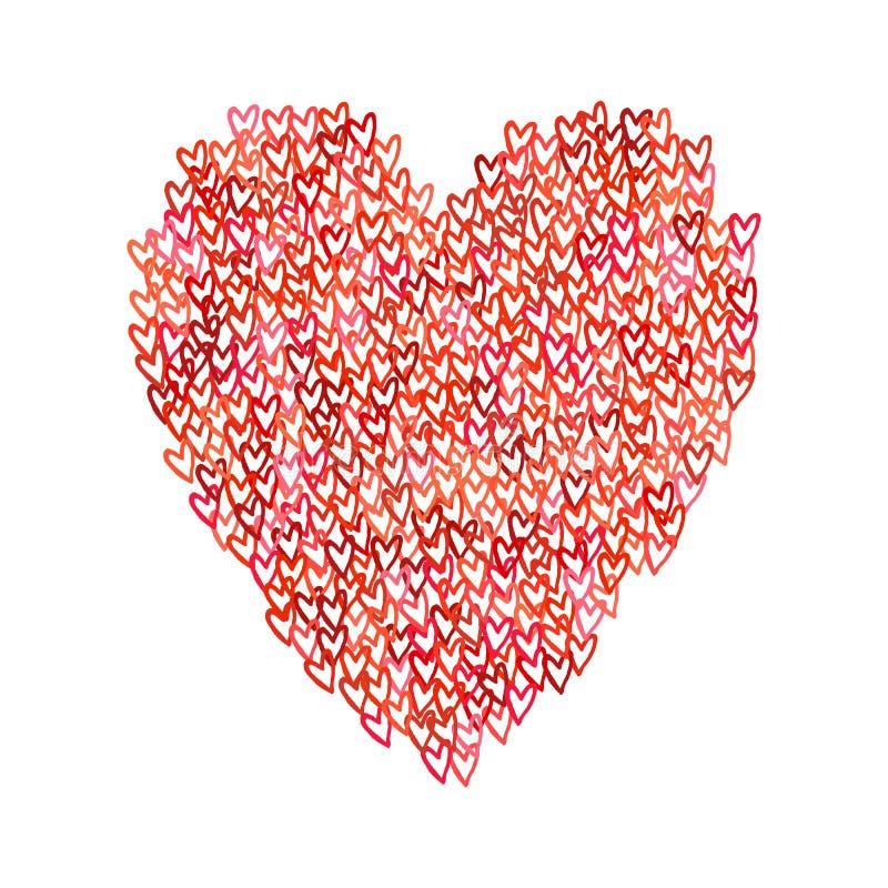 Иллюстрация большой формы сердца заполнила с сердцами иллюстрация вектора