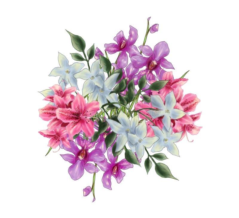 Иллюстрация букета орхидеи, рододендрона стоковые фотографии rf