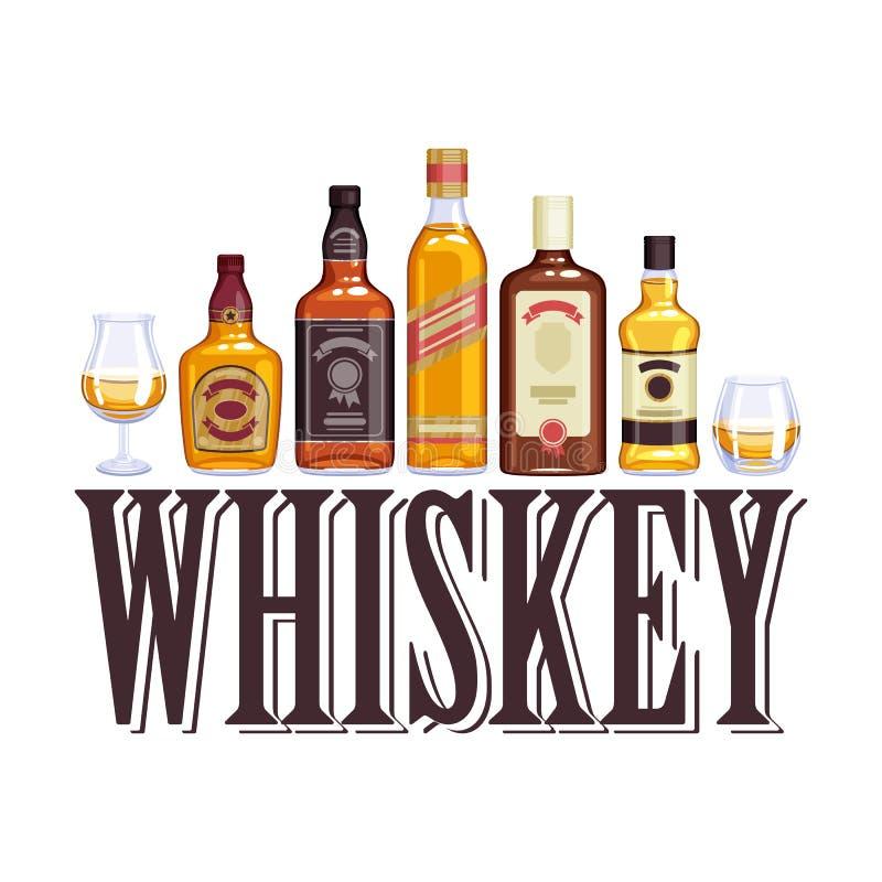 Иллюстрация бутылок и стекел вискиа бесплатная иллюстрация