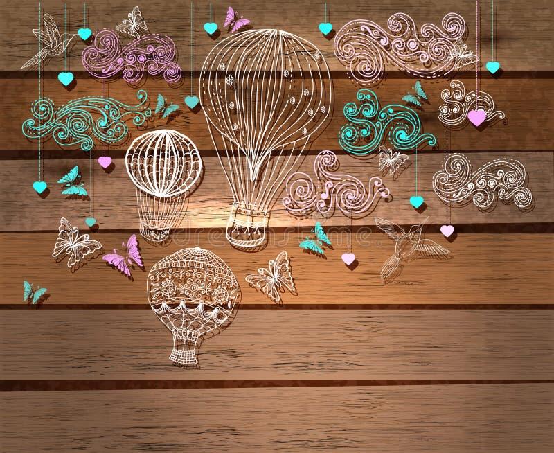Иллюстрация валентинки, горячий воздушный шар в небе, руке нарисованное Backg иллюстрация штока
