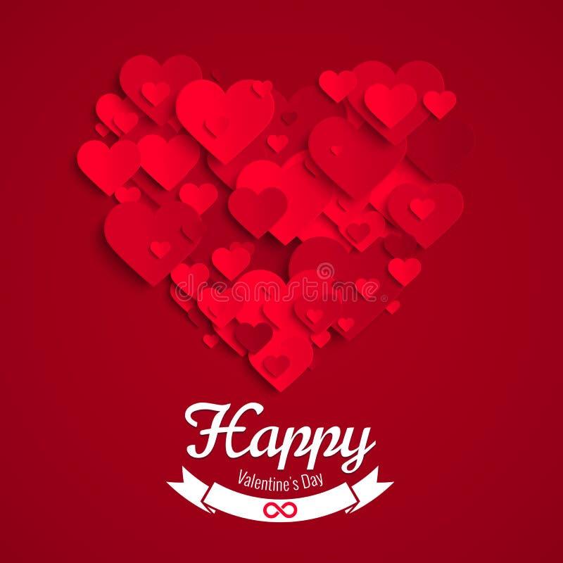 Иллюстрация валентинки, форма сделанная красных бумажных сердец, шаблон сердца поздравительной открытки иллюстрация штока