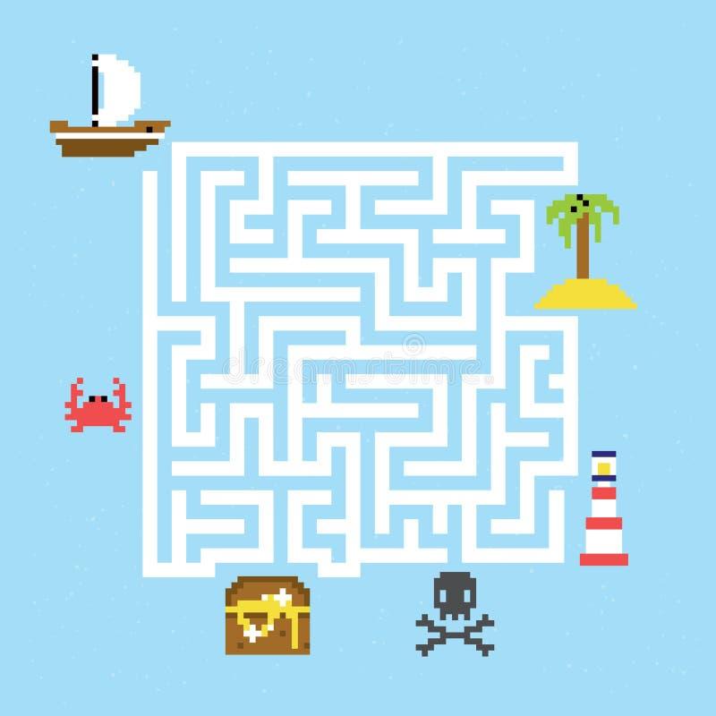 Иллюстрация вектора лабиринта сокровища пирата бесплатная иллюстрация