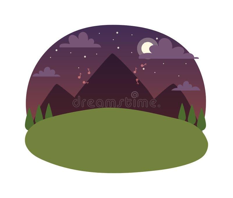 Иллюстрация вектора ландшафта ночи иллюстрация вектора