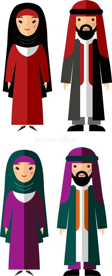 Иллюстрация вектора арабских мужчины и женщины иллюстрация штока