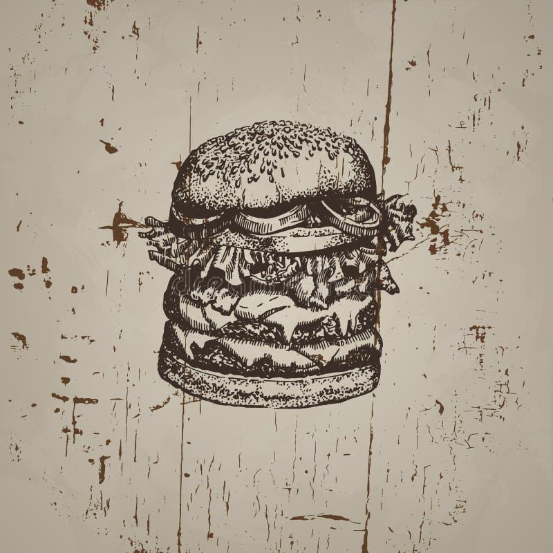 Иллюстрация вектора большого бургера бесплатная иллюстрация