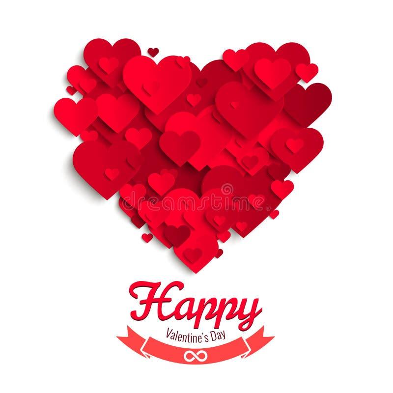 Иллюстрация вектора валентинки, красные бумажные сердца, шаблон поздравительной открытки бесплатная иллюстрация