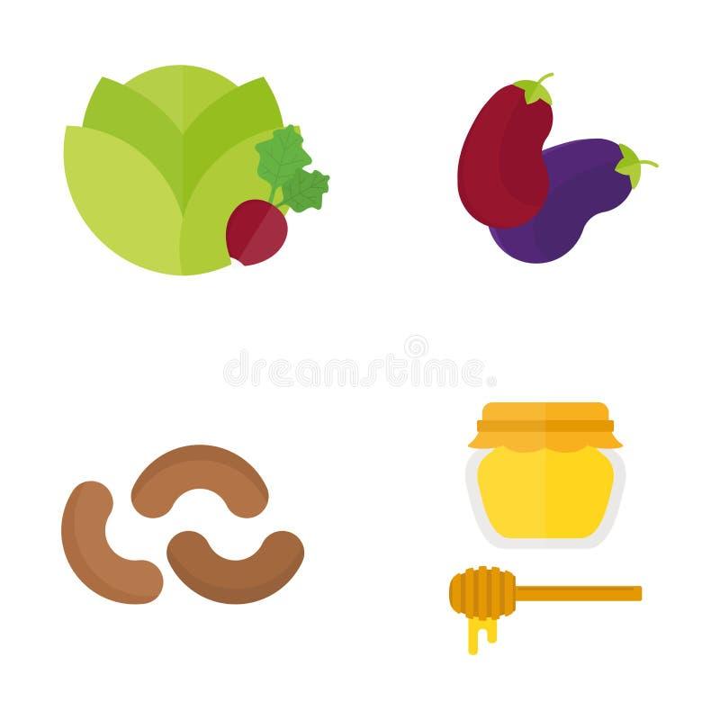 Иллюстрация вектора вегетарианского здорового питания плодоовощ ресторана природы еды Vegan vegetable изолированная на белизне иллюстрация вектора