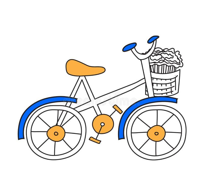 Иллюстрация вектора велосипеда плоская иллюстрация штока