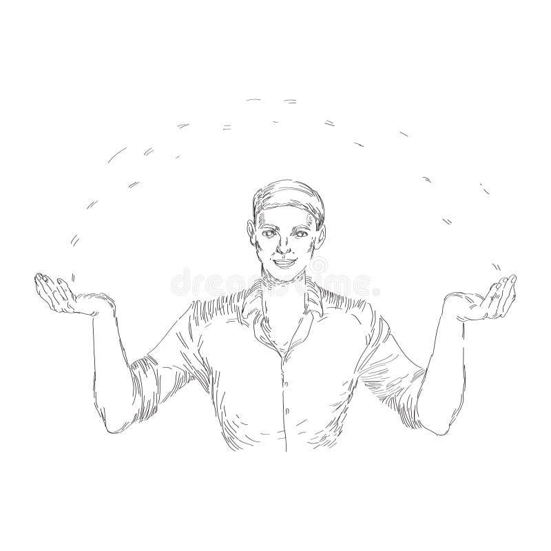 Иллюстрация вектора винтажная с бизнесменом офиса иллюстрация штока