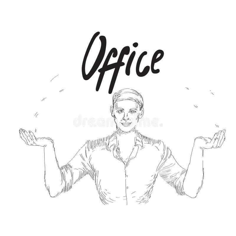 Иллюстрация вектора винтажная с бизнесменом офиса иллюстрация вектора