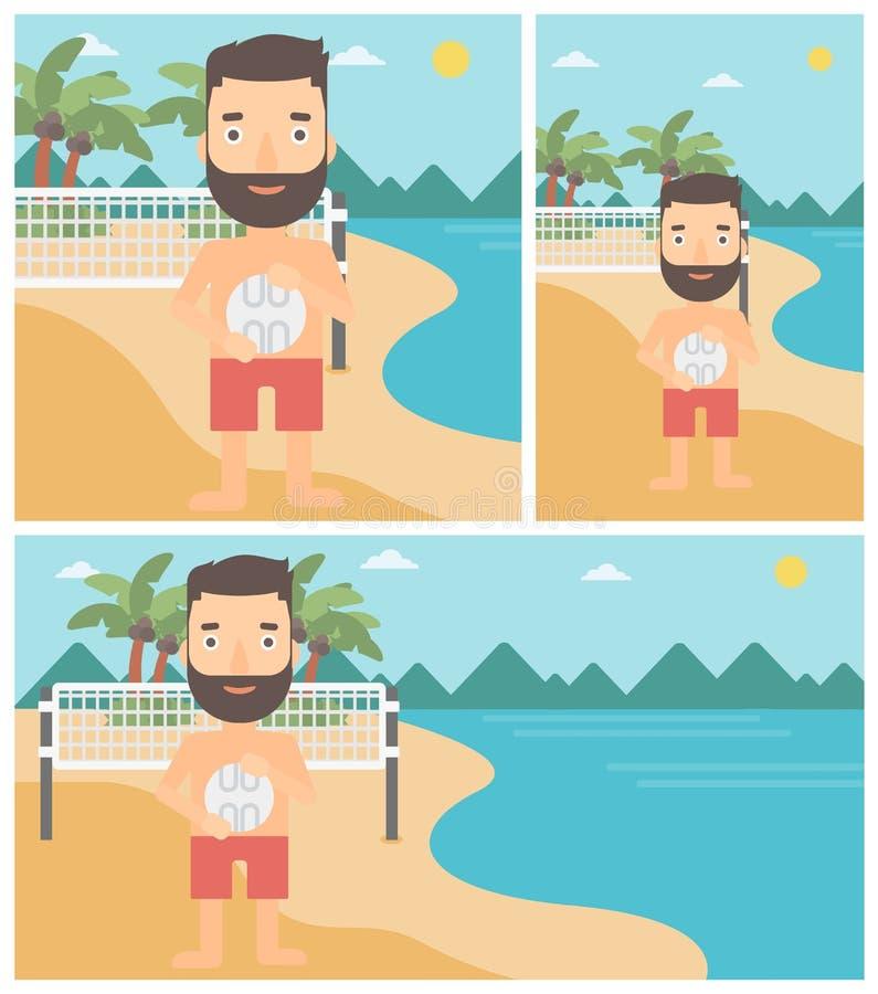 Иллюстрация вектора волейболиста пляжа иллюстрация вектора