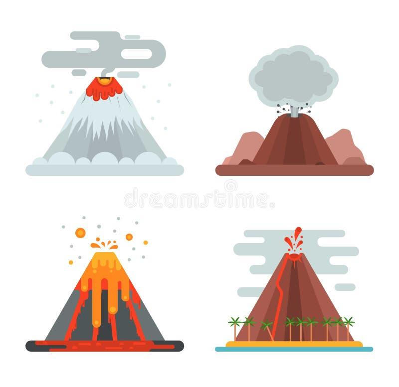 Download Иллюстрация вектора вулкана установленная Иллюстрация вектора - иллюстрации насчитывающей актеров, опасность: 81801508