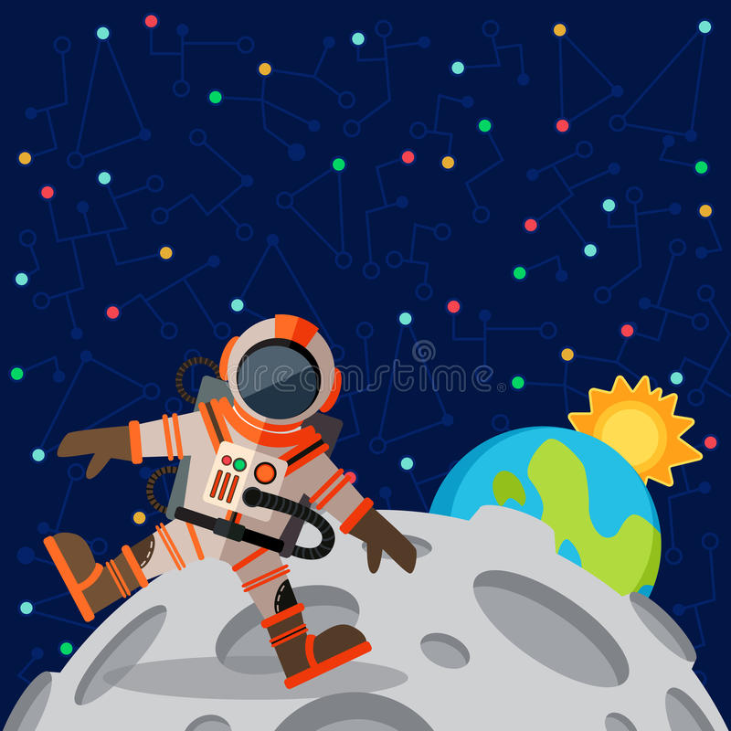 Иллюстрация вектора в плоском стиле о космическом пространстве иллюстрация штока