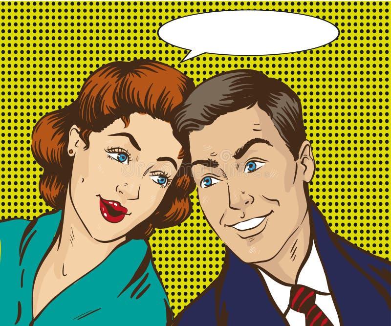 Иллюстрация вектора в стиле искусства шипучки Женщина и человек говорят друг к другу Ретро шуточное Сплетня, распространяет слухи иллюстрация штока