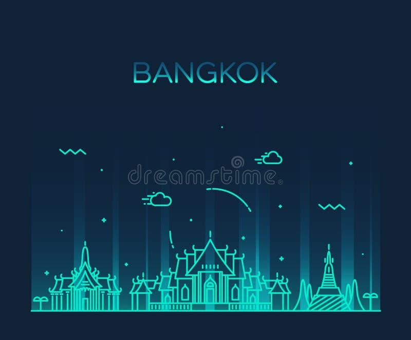 Иллюстрация вектора горизонта Бангкока ультрамодная линейная бесплатная иллюстрация