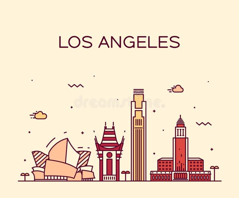 Иллюстрация вектора горизонта Лос-Анджелеса линейная иллюстрация штока