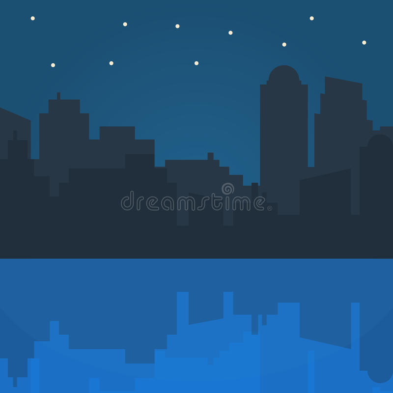 Иллюстрация вектора города ночи в плоском дизайне стиля иллюстрация штока