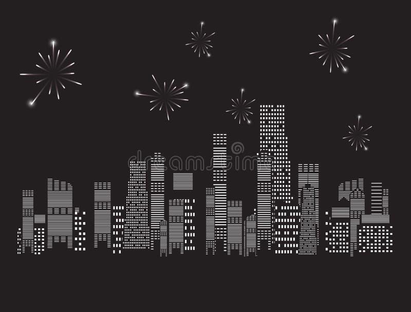 Иллюстрация вектора города феиэрверков иллюстрация штока