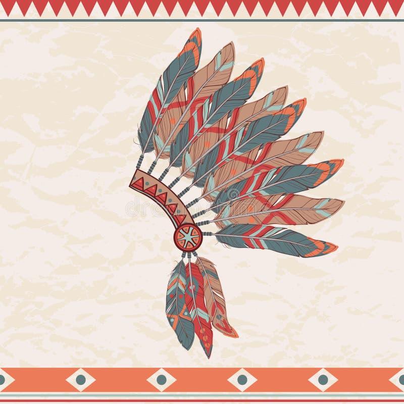 Иллюстрация вектора головного убора индийского вождя коренного американца иллюстрация вектора