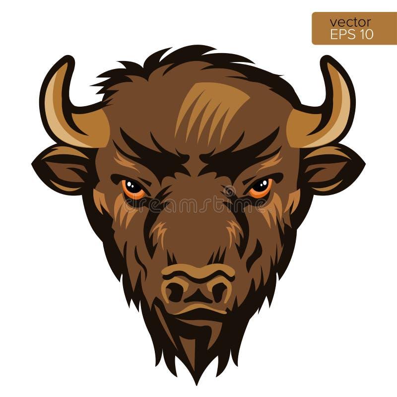 Иллюстрация вектора головы талисмана Bull американского бизона Символ буйвола головной животный иллюстрация вектора