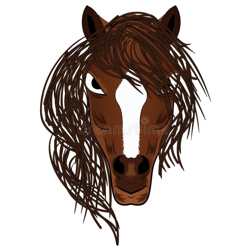 Иллюстрация вектора головы шаржа талисмана лошади бесплатная иллюстрация