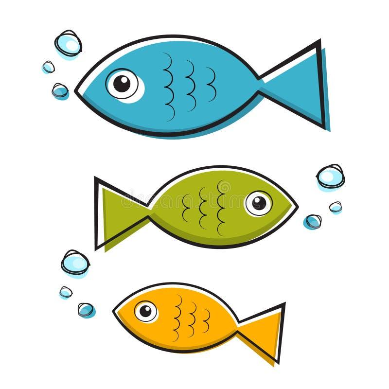 Иллюстрация вектора голубая, зеленая и оранжевая рыб с пузырями бесплатная иллюстрация