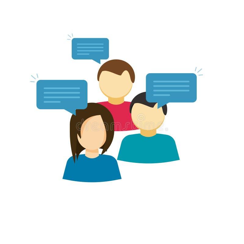 Иллюстрация вектора группы для обсуждения, плоские люди говоря, значок стиля шаржа связи диалога команды