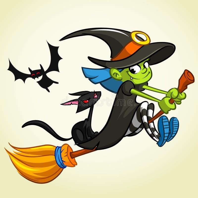 Иллюстрация вектора девушки шаржа одела в костюме ведьмы для хеллоуина и ехать broomstick иллюстрация вектора