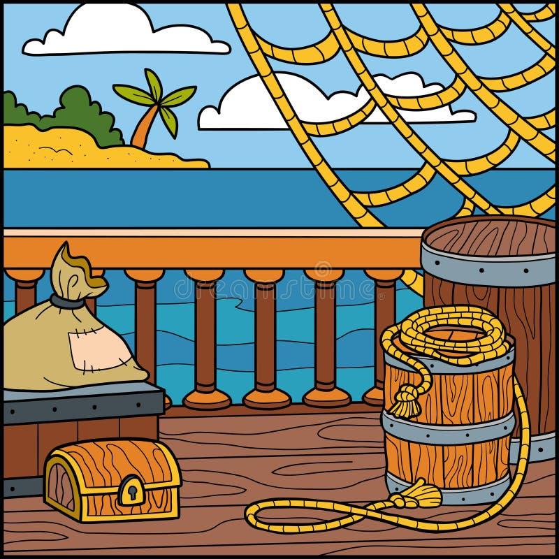 Иллюстрация вектора, естественная предпосылка Взгляд от корабля к t иллюстрация вектора