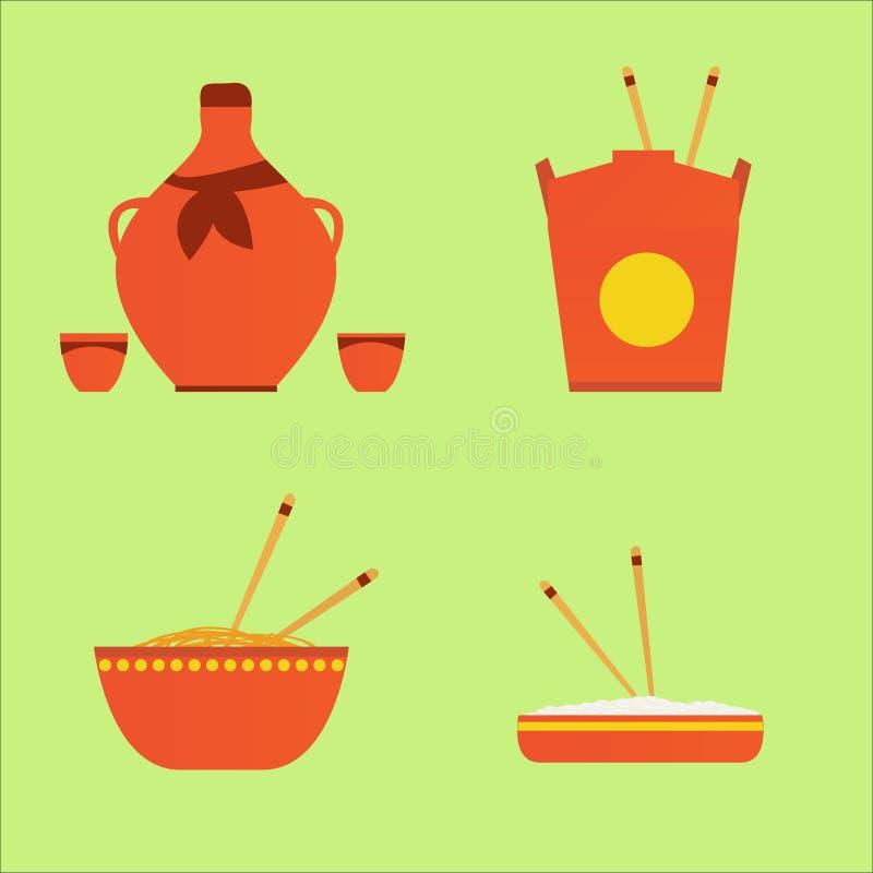 Иллюстрация вектора еды и питья chinase стоковая фотография rf