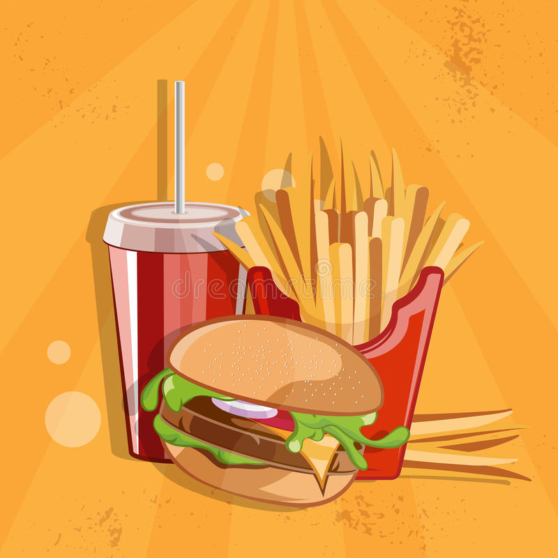 иллюстрация вектора еды с бургером, зажаренными картошками и col иллюстрация вектора