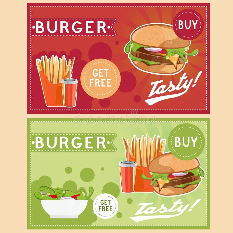 иллюстрация вектора еды с бургером, зажаренными картошками, колой иллюстрация вектора