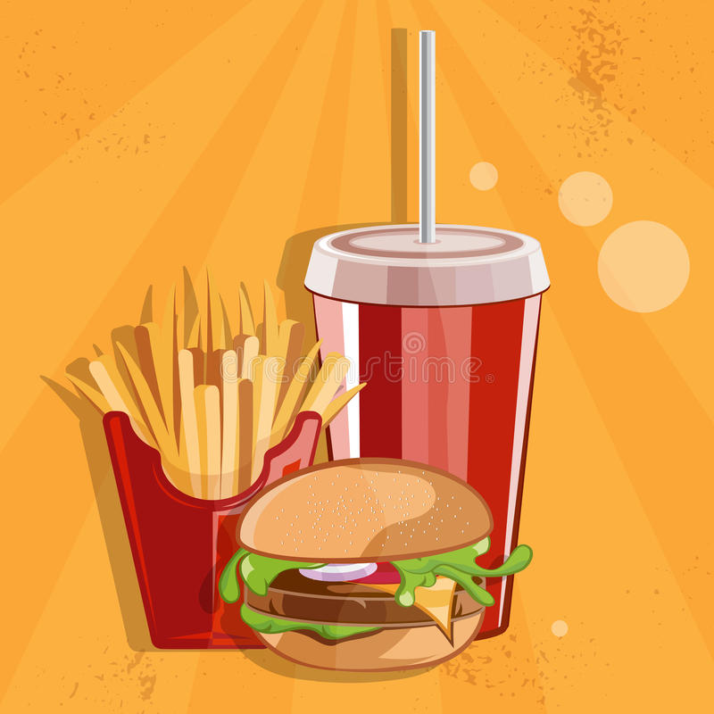 иллюстрация вектора еды с бургером, фраями и колой иллюстрация вектора