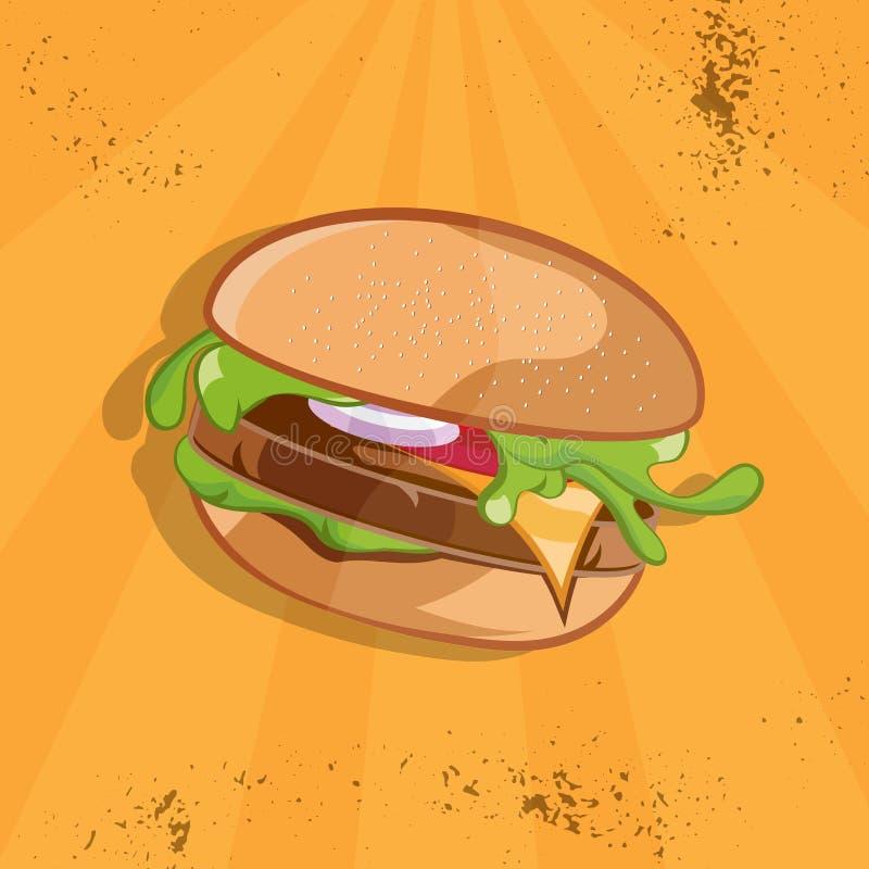 иллюстрация вектора еды с бургером иллюстрация штока