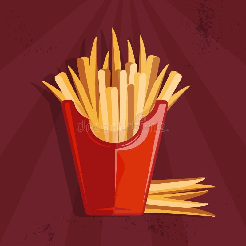 иллюстрация вектора еды с фраями бесплатная иллюстрация