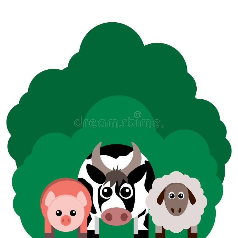 Иллюстрация вектора животноводческих ферм Корова, овца, свинья бесплатная иллюстрация