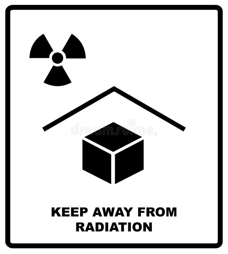 Иллюстрация вектора знака пакета - держите далеко от радиации - рентгенизируйте текст радиации Упаковывая ярлык черный бесплатная иллюстрация