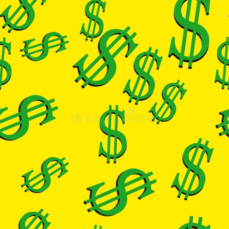 Иллюстрация вектора знаков доллара безшовная иллюстрация штока