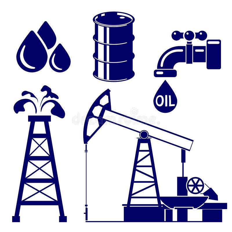 Иллюстрация вектора значка нефтедобывающей промышленности установленная иллюстрация штока